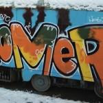 Граффити украинского стрит-артиста на кишинёвских троллейбусах