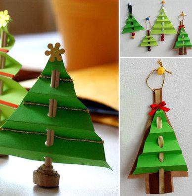 Бумажные украшения на елку
