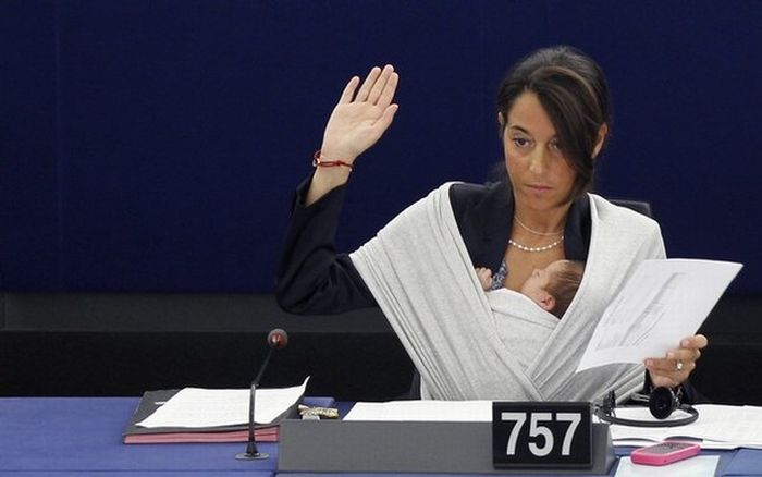 Italy's MEP Ronzulli takes part with her baby in a voting session at the European Parliament in Strasbourg