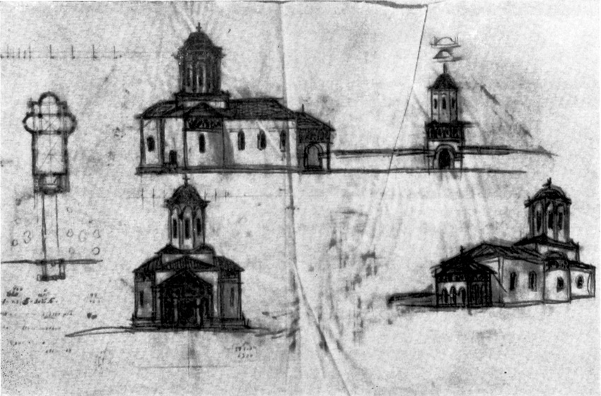 Эскиз проекта, сделанный рукой А. Щусева