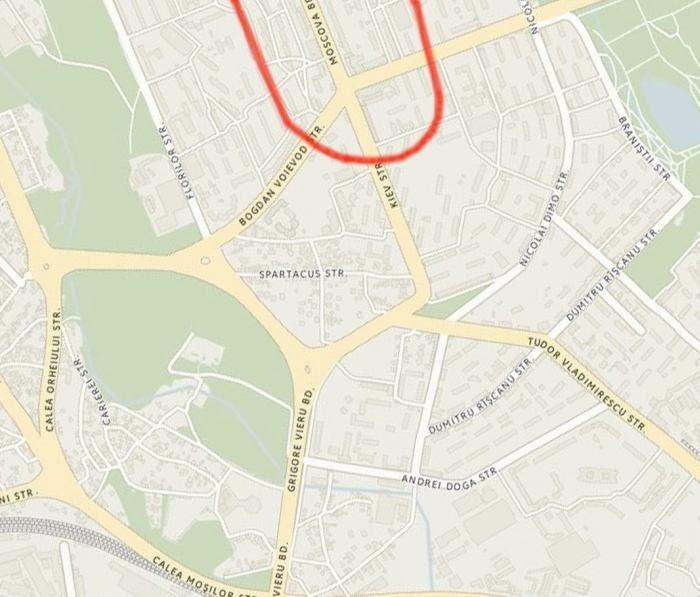 Красной линией обозначено начало лётного поля.