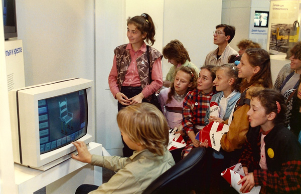 1989- Chair design computer program being used by Russian children at Design USA. [Photo by Amanda Merullo, 1989]