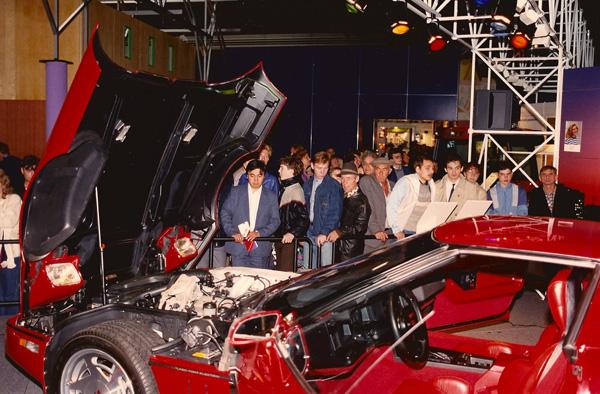 1989- Visitors enjoy the Corvette stand at Design USA. [Photo by Amanda Merullo,1989]