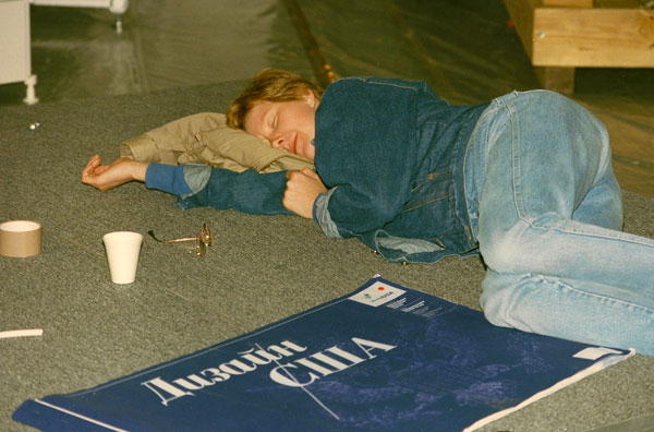 Moscow, 1989- Guide (and later, Deputy Director) Diane Reinsch takes a break during set-up of Design USA. [Photo by Amanda Merullo, 1989]