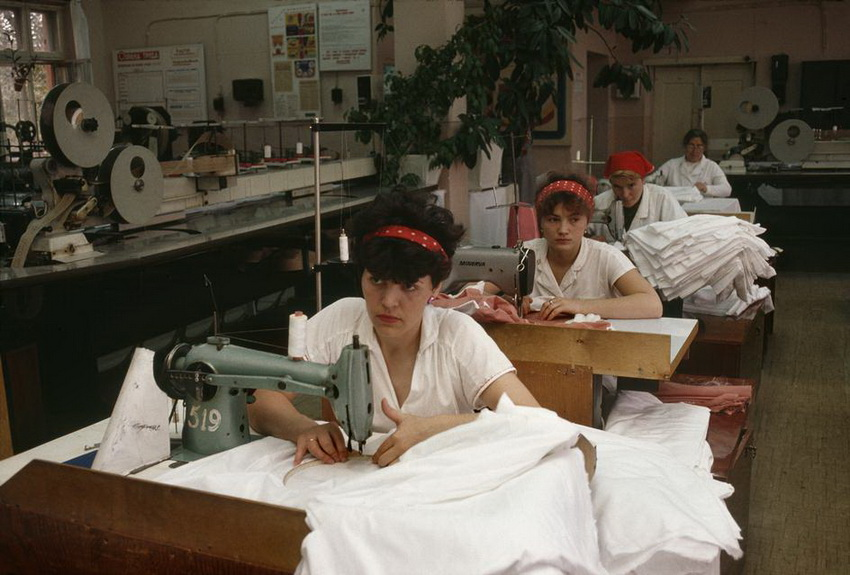 MOLDAVIA. The capital Kishinev. Women sewing in a factory. 1988.