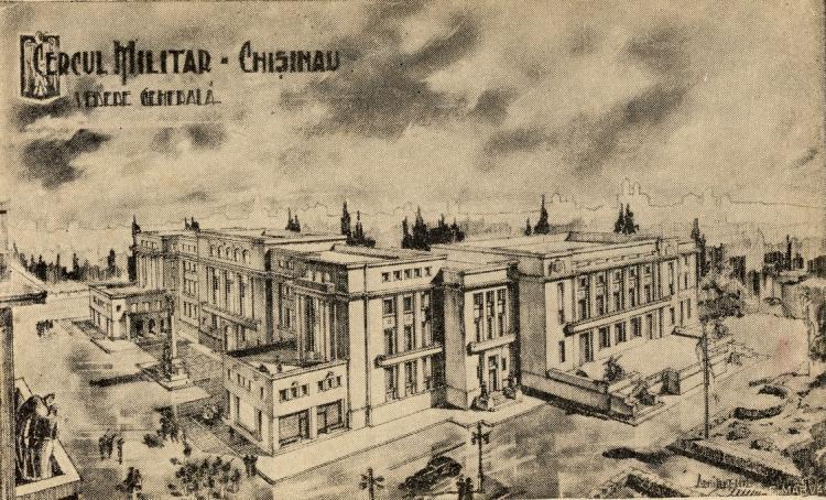 Так должно было выглядеть Офицерское Собрание. Вид примерно с крыши нынешнего театра М. Эминеску.