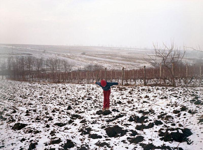 14. Одинокий ребенок играет на заснеженном поле.