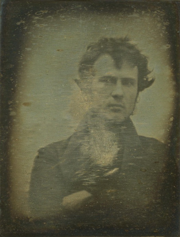 A self portrait taken by Robert Cornelius in 1839