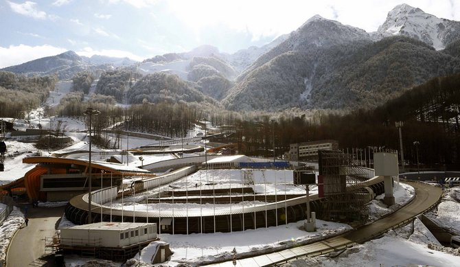 "A general view shows the ""Sanki"" sliding center in Rosa Khutor near Sochi"