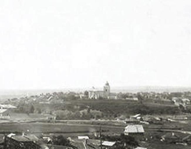 Вид на Мазаракиевскую церковь с Рышканского холма.  С панорамы Кишинёва фотографа Кондрацкого, конец XIX века.