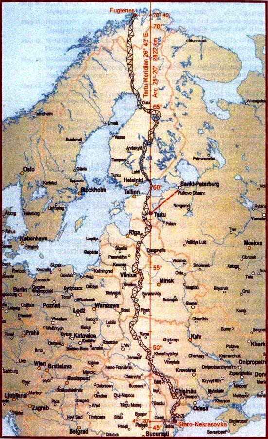 Дуга Струве на карте Европы