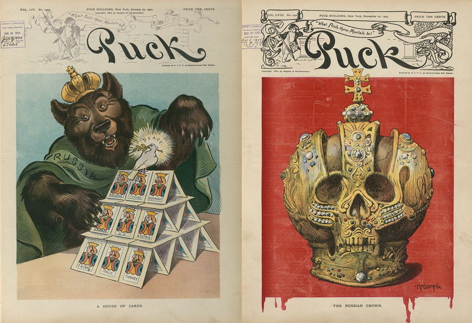 """A house of cards"", Udo J. Keppler,  1904 January 20; ""The Russian crown"", Carl Hassmann, 1905 December 27"