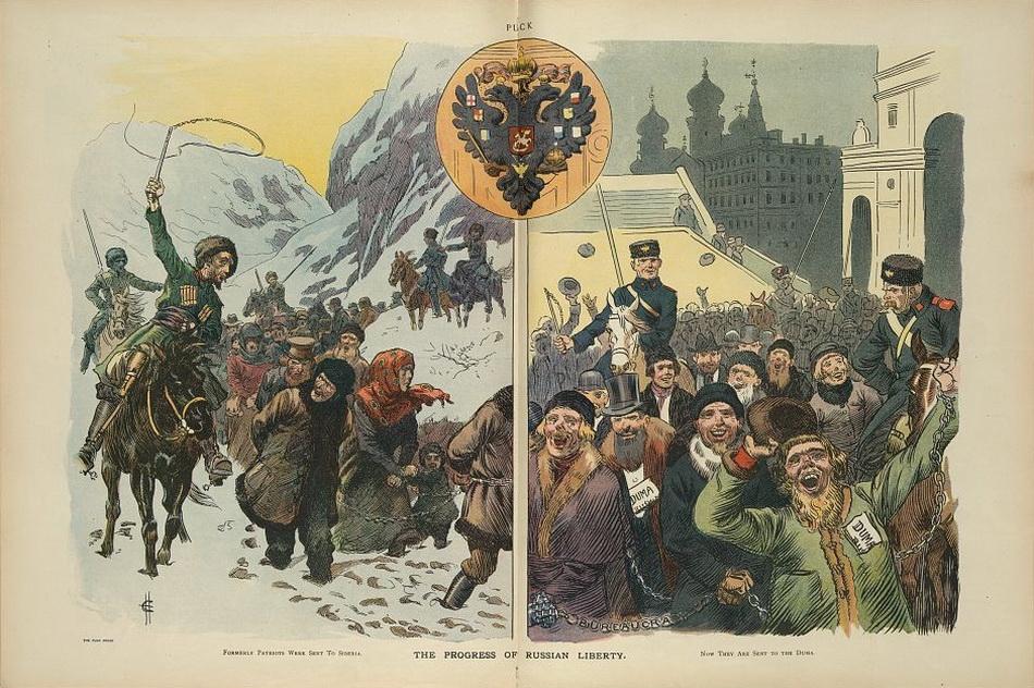"""The progress of Russian liberty"", Carl Hassmann, 1907 July 17"