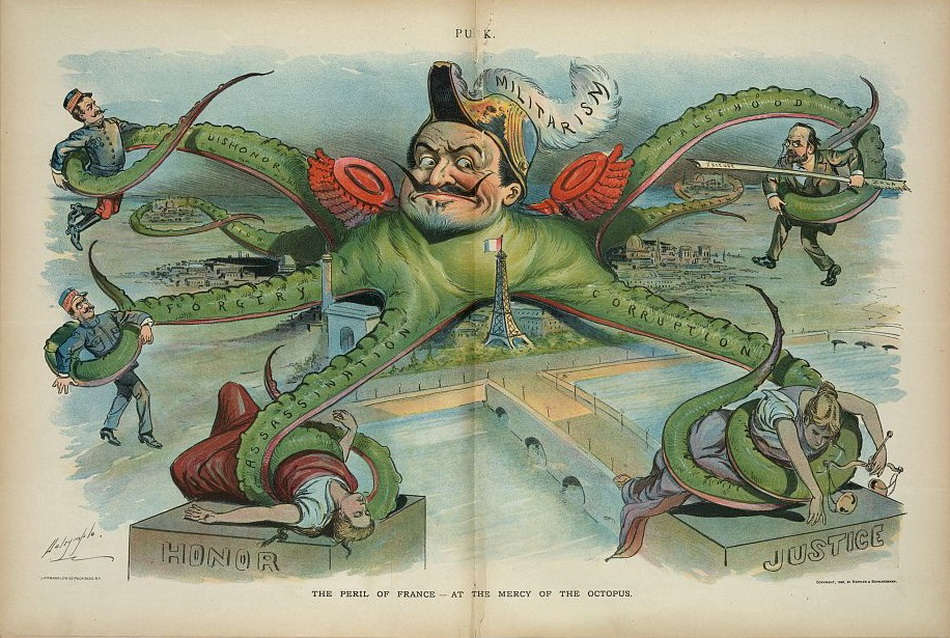 """The peril of France - at the mercy of the octopus"", Louis Dalrymple, 1898 October 26"