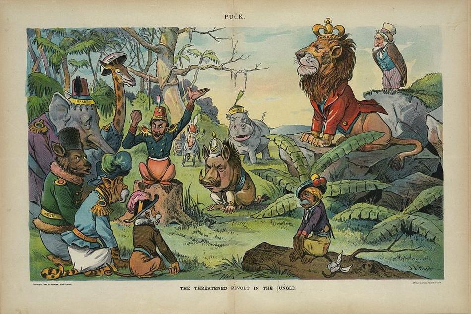 """The threatened revolt in the jungle"", John S. Pughe, 1898 December 7"