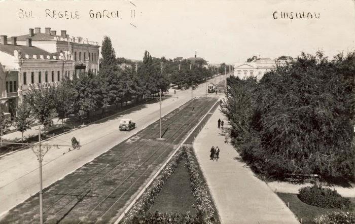 Нынешний бул. Штефана чел Маре в сторону ул. Бэнулеску-Бодони. Видна Семинария.