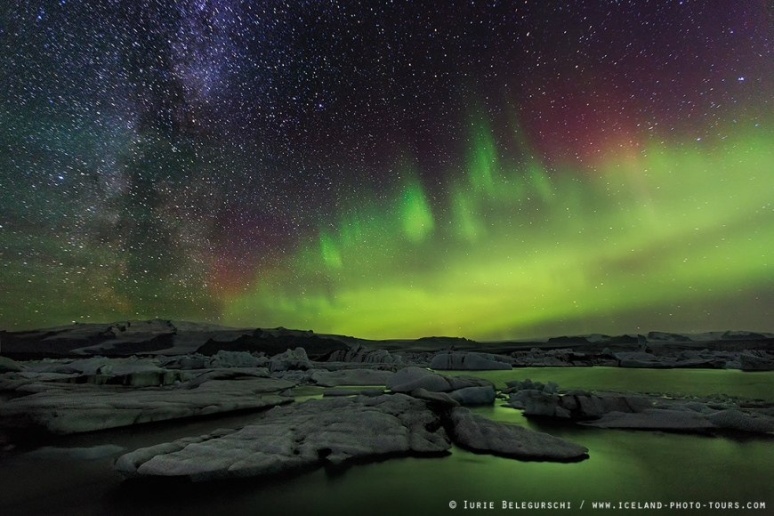 Milky Way and Aurora over Jokulsarlon Glacier Lagoon