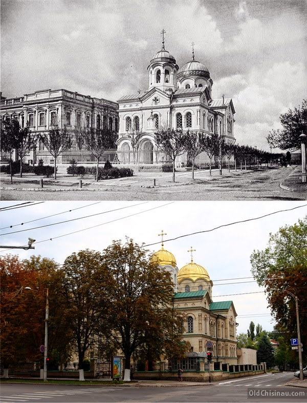 Церковь 2-й мужской гимназии. Начало XX века и 2014 год.
