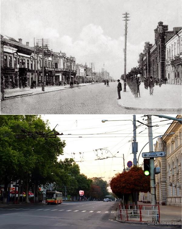 Александровская улица (нынешний бульвар Штефана чел Маре). Начало XX века и 2014 год.
