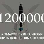 Цифра дня: сколько нужно комаров, чтобы выпить всю кровь у человека