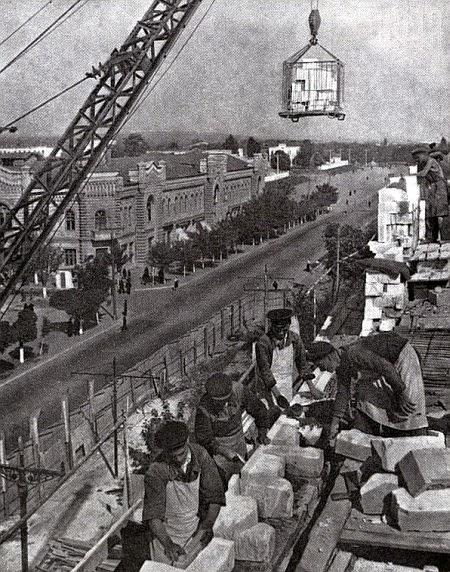 Строительство нового здания на месте Дома Фитова, 1950-е гг.