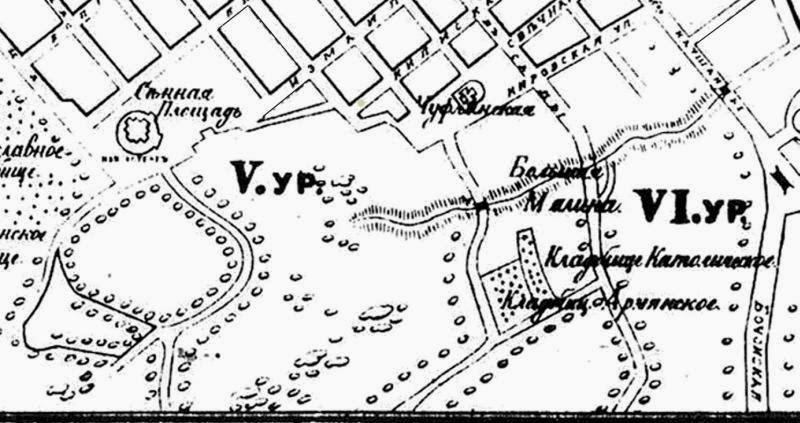 5 урочище на карте 1887 года. Находилось между Сенной Площадью и нынешней ул. Мелестиу.