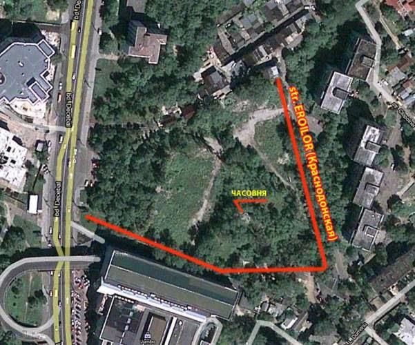 Схема с границами кладбища. Вполне вероятно, что оно граничило непосредственно с Мунчештским кладбищем (выше по карте).