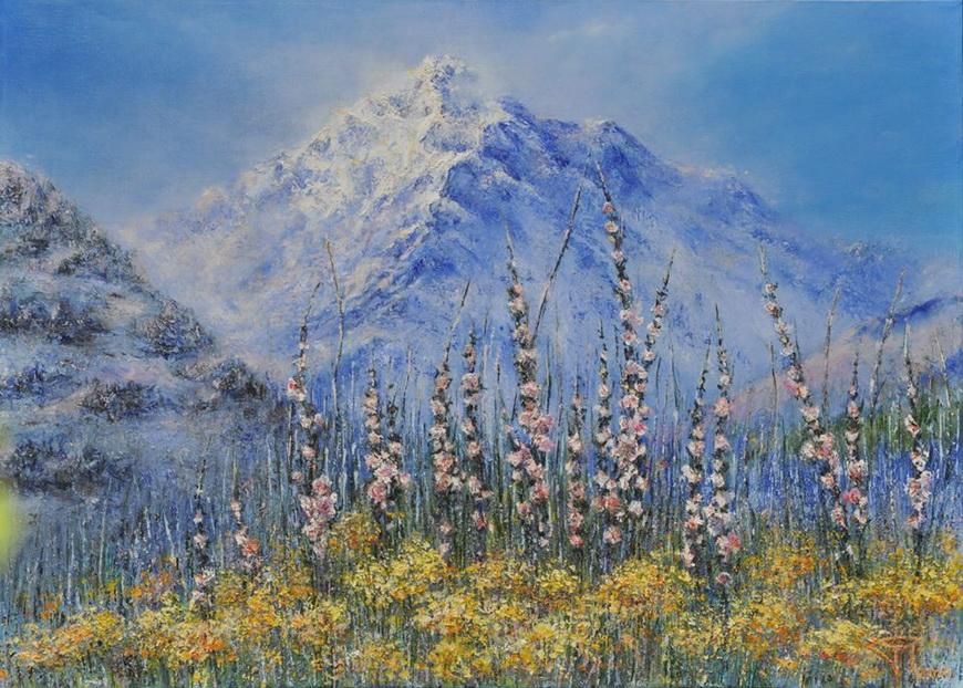 Альпийский луг. 70х50 см. Холст / масло