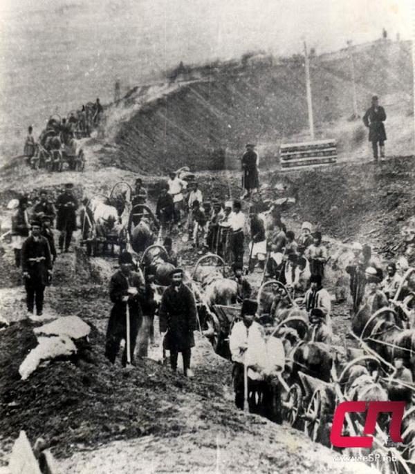 Строительство железной дороги в окрестностях Бельц, конец XIX века.