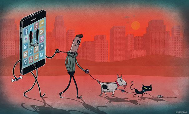 19-satirical-illustrations-addiction-technology