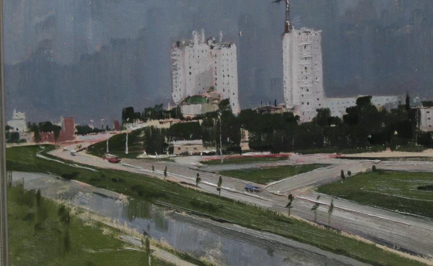 """Художник Ю. Шибаев: """"Кишинев строится"""", 1980 г."""