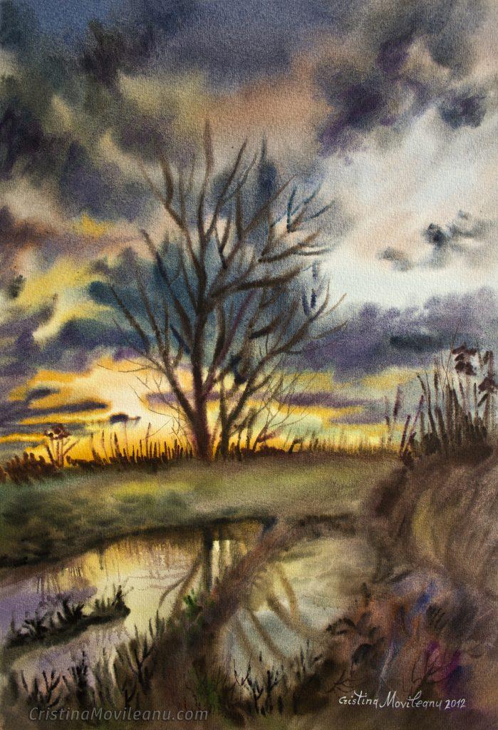 Sunset Landscape, 43x29 cm