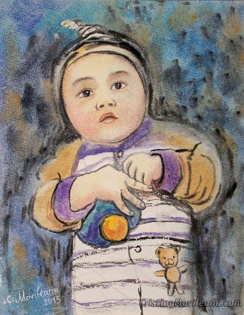 bebelus-acuarela-hirtie