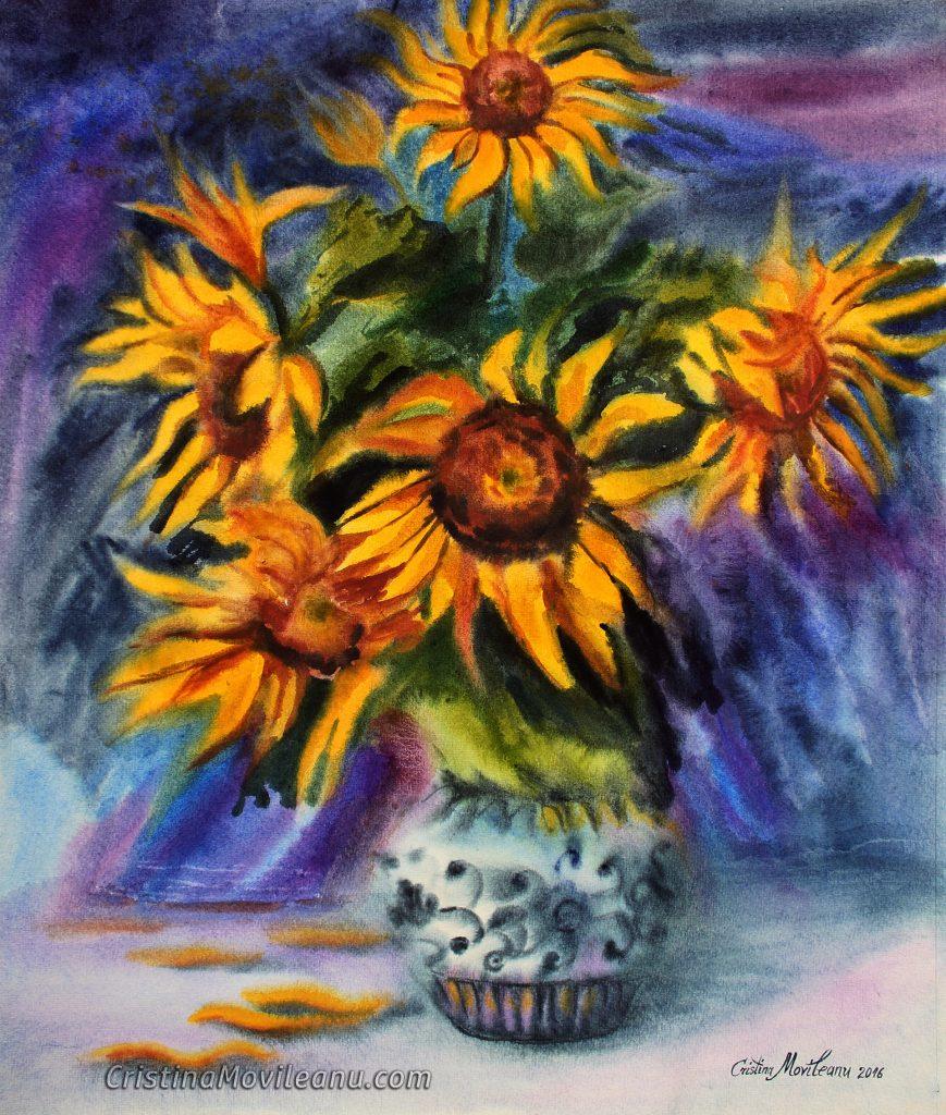 Floarea Soarelui-2016, (61,5 x 51 cm), acuarela