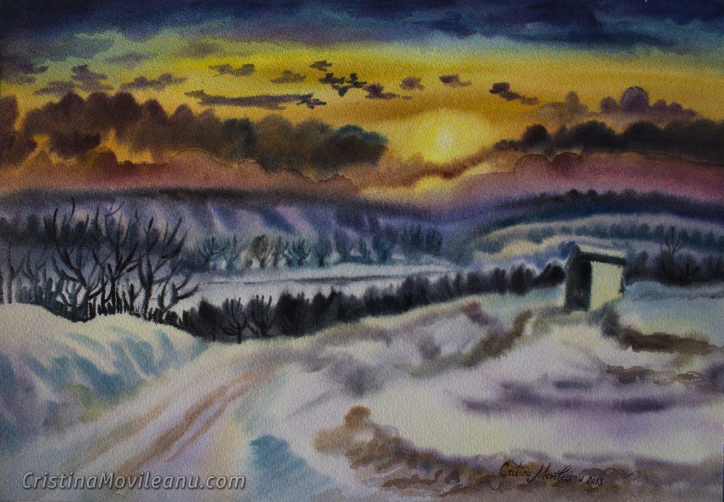 iarna-in-secareni-acuarela
