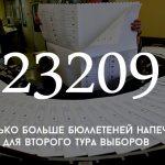 Цифра дня: на сколько больше бюллетеней сделали для второго тура выборов
