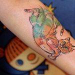 Лисы, львы, коты, собаки, волки и лошади в акварельных татуировках Caffeine Tattoo