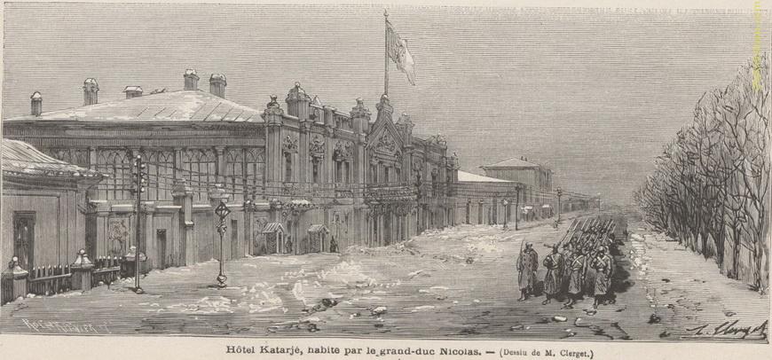 Дом Катаржи — квартира Главнокомандующего великого князя Николая Николаевича. На этом мы видим телеграфные столбы, которых ещё не было на предыдущем. Здание сохранилось (нынешний адрес — улица Колумна, 106).