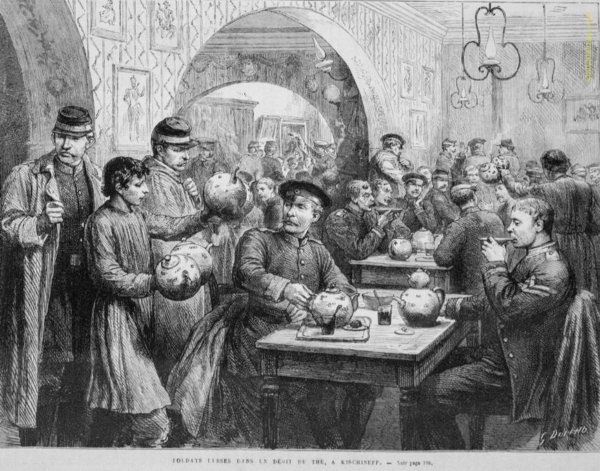 Российские солдаты в кишинёвской чайной.
