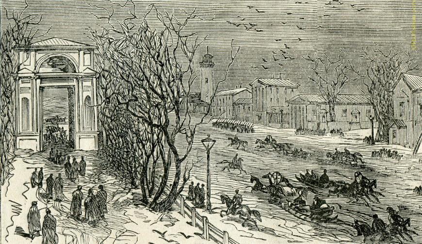Центр Кишинёва. Справа видны здания комплекса т.н. Митрополии. Башня вдали — пожарная каланча, на месте которой сейчас стоит Примэрия.